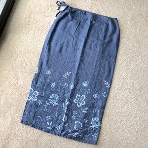 Loft Linen High Waist Wrap Skirt
